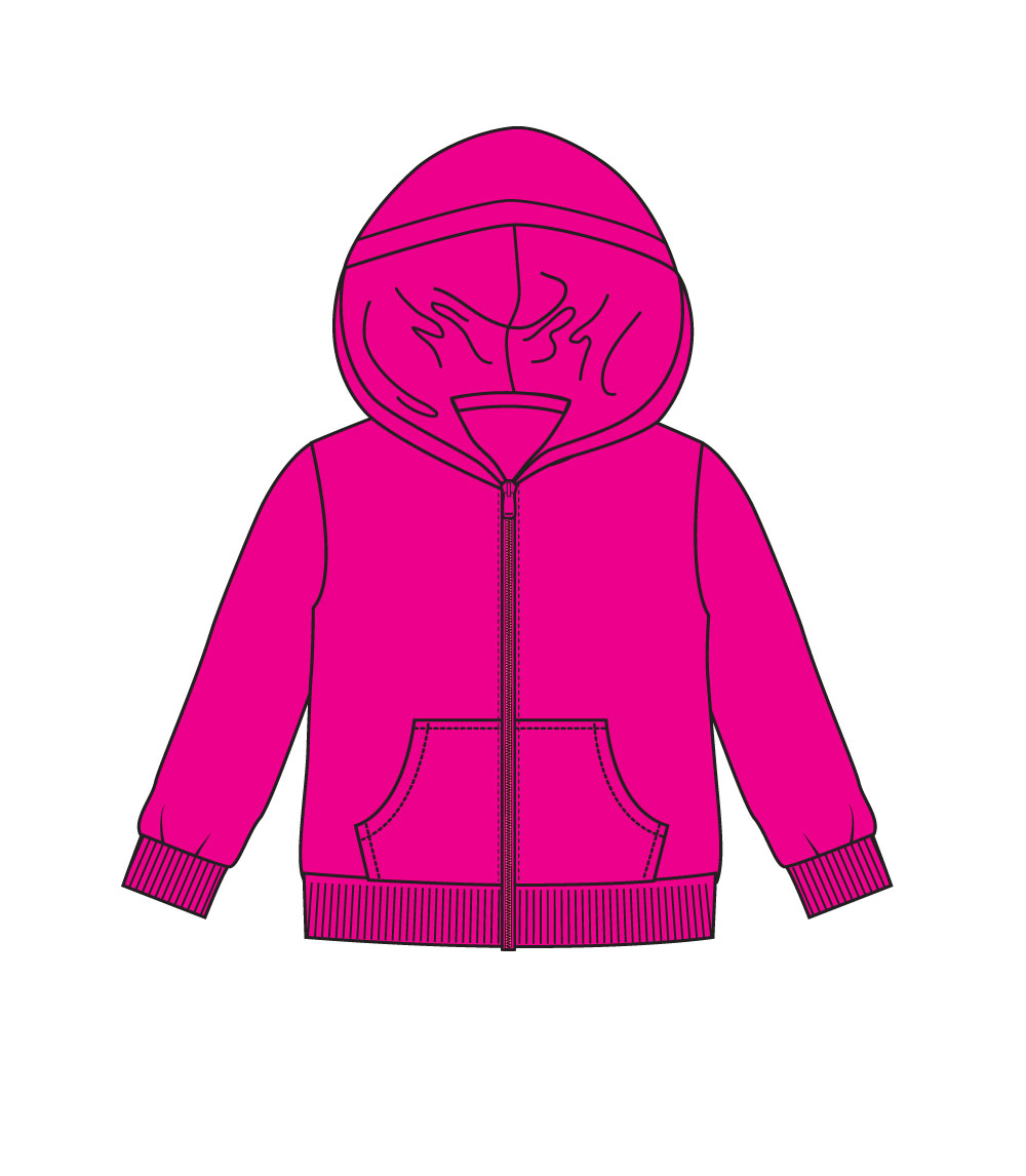 Girls 4-6X Zip Front Fleece Hoodie Jacket Fuchsia