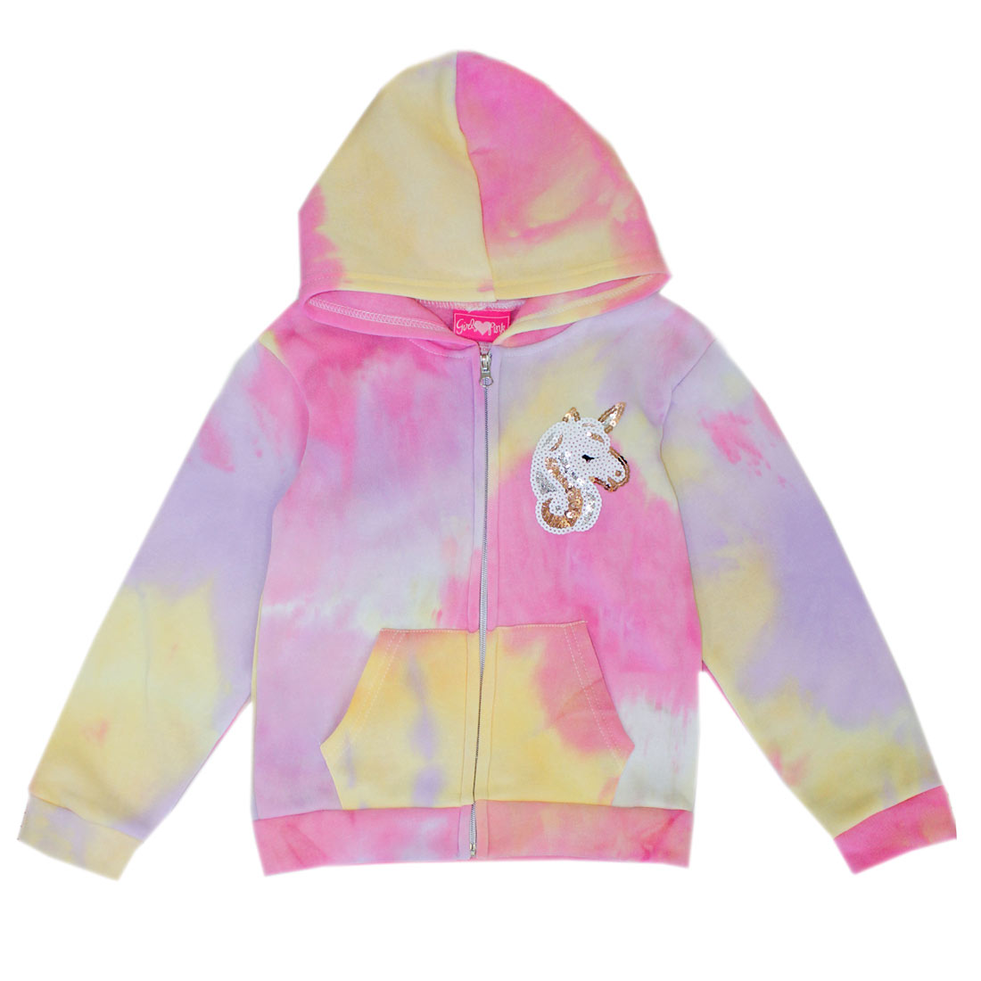 GIRLS PINK 4-6X Unicorn Sequin Patch Jacket W Hoodie