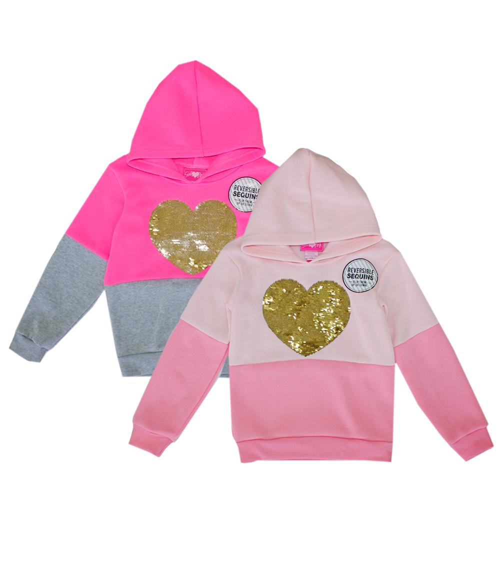 GIRLS PINK 7-16 Heart Sequin Fleece Hooded Jacket
