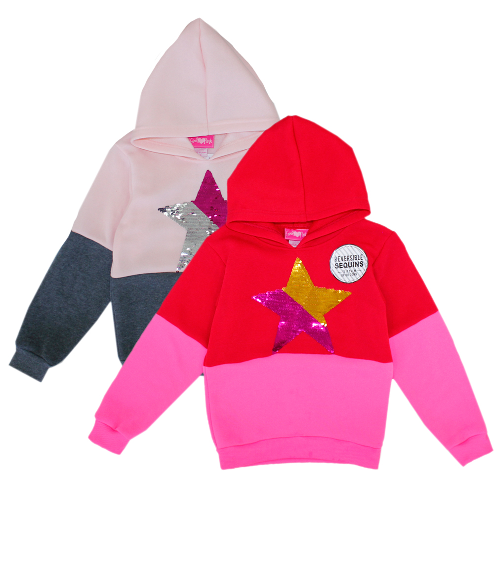 GIRLS PINK 7-16 Fleece Hooded Jacket w Sequins