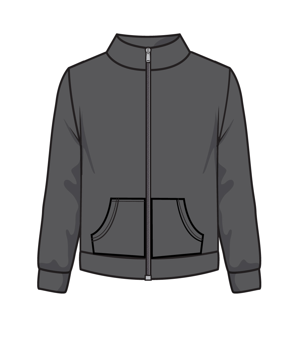 Zip Front Fleece Jacket Charcoal
