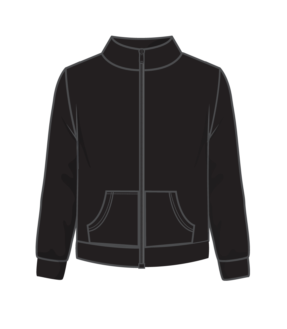 Zip Front Fleece Jacket Black
