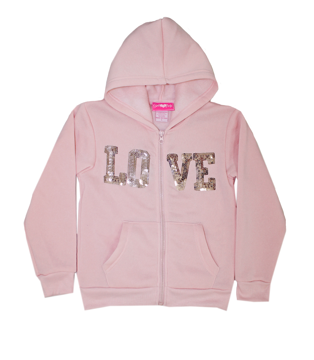 GIRLS PINK 7-16 Love Fleece Hooded Jacket