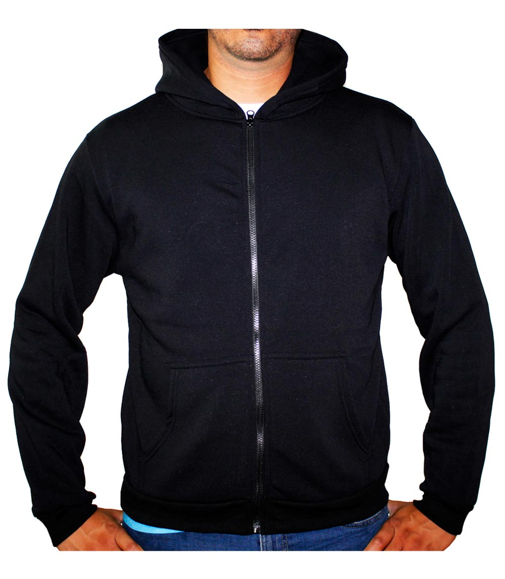 Zip Front Fleece Hoodie Jacket Black