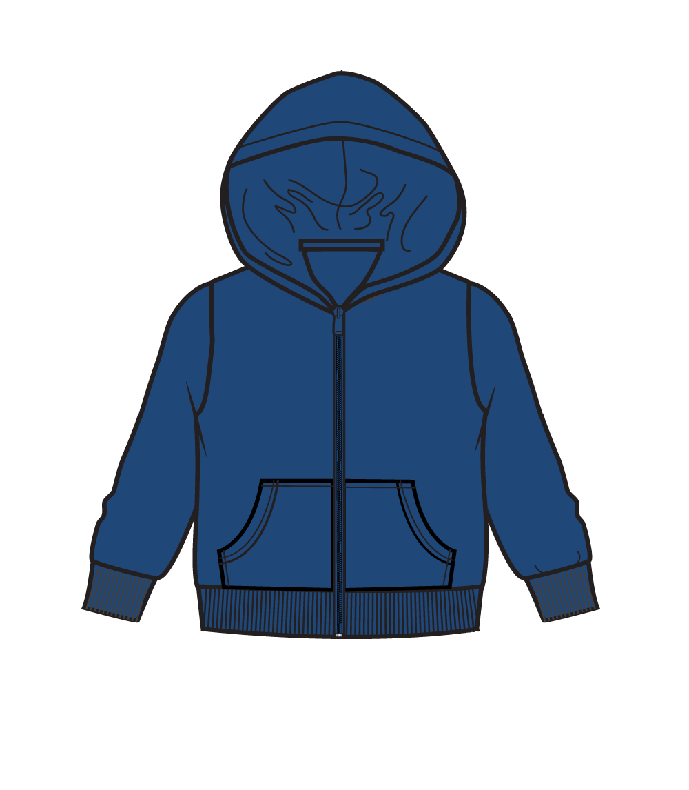 Zip Front Fleece Hoodie Jacket Navy