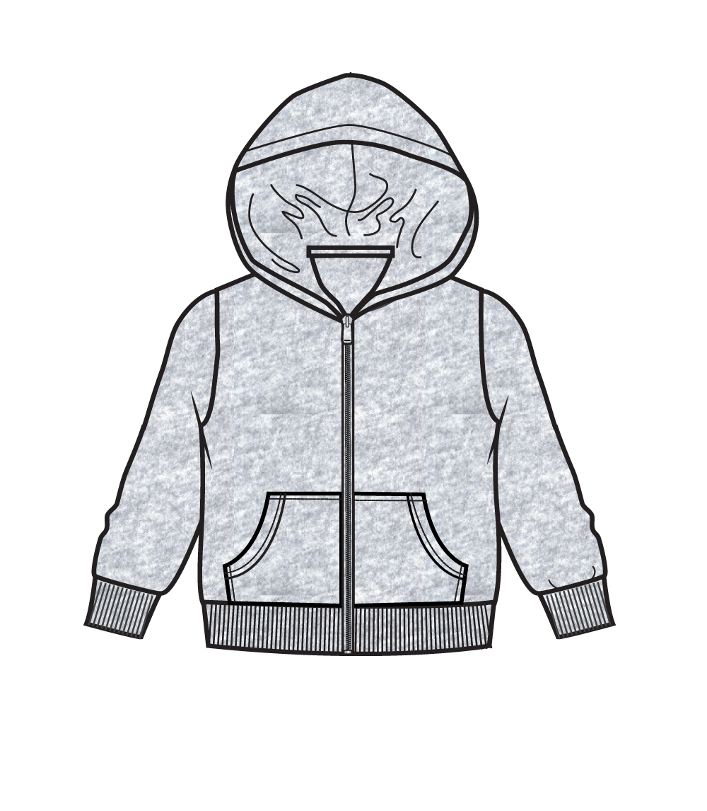 Zip Front Fleece Hoodie Jacket H.Grey