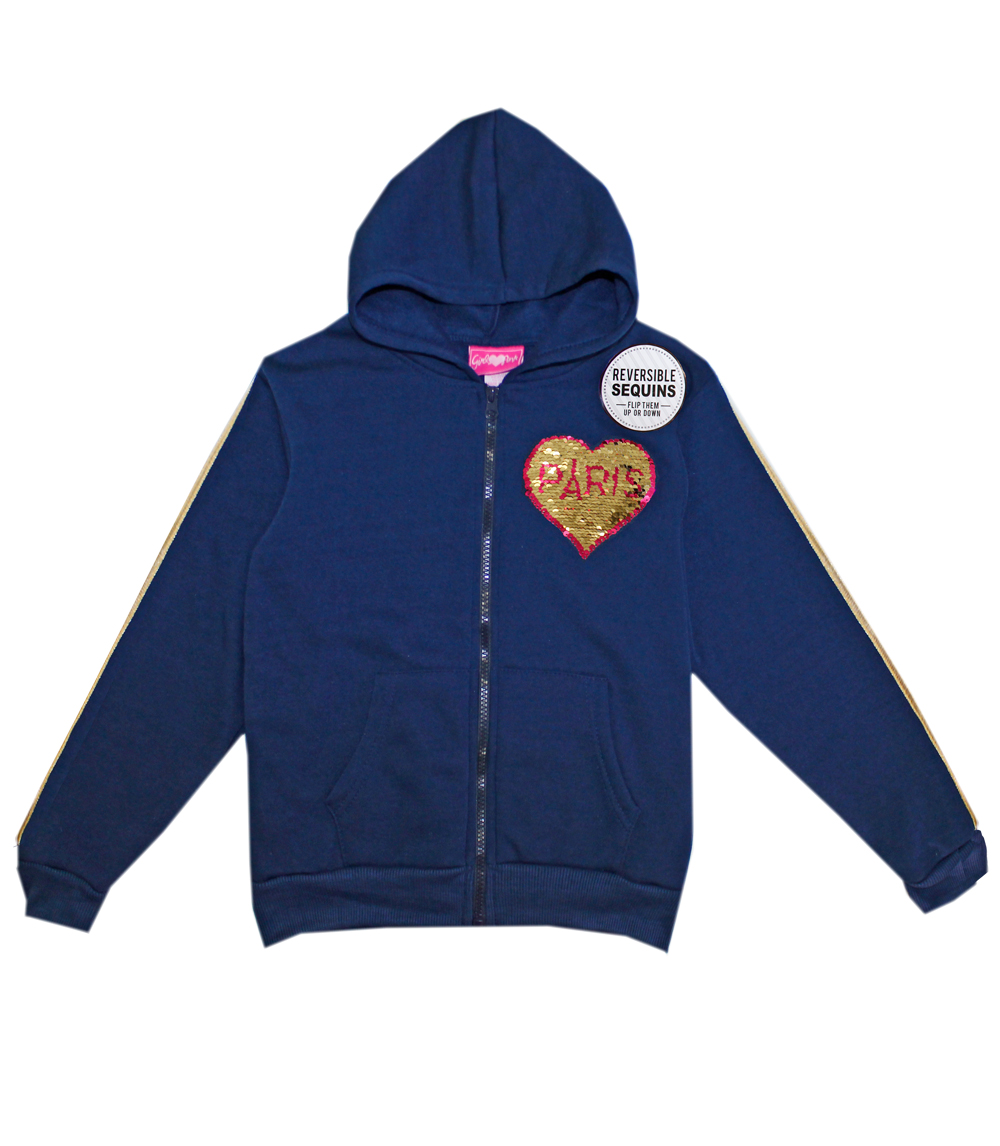 Fleece Jacket W Reversible Sequins Patch