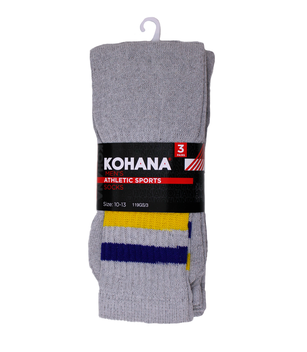 Socks - 10-13 Grey w Stripe Tube Socks
