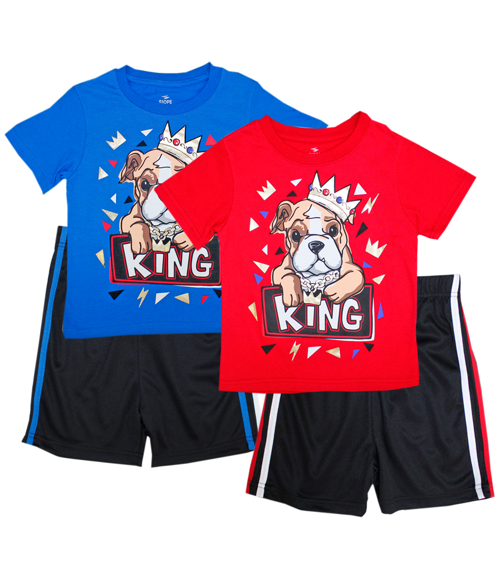 S1OPE Toddler Dog W Crown Athletic Mesh Short Sets