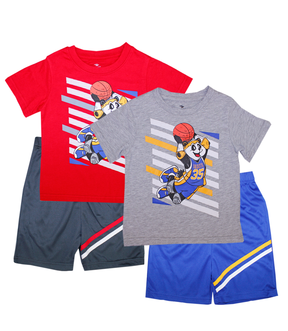 S1OPE infant Panda w Basketball Top with Athletic Shorts