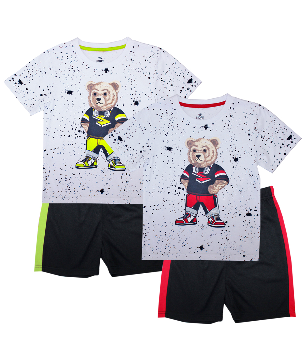 S1ope 4-7 Bear Splatter Screen Top w Athletic Shorts