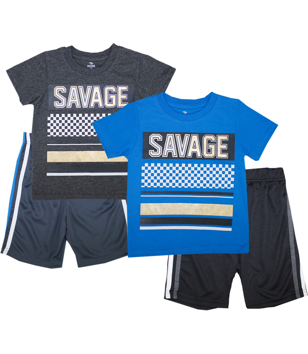 S1OPE 8-18 Savage Screen Top with Athletic Mesh Shorts