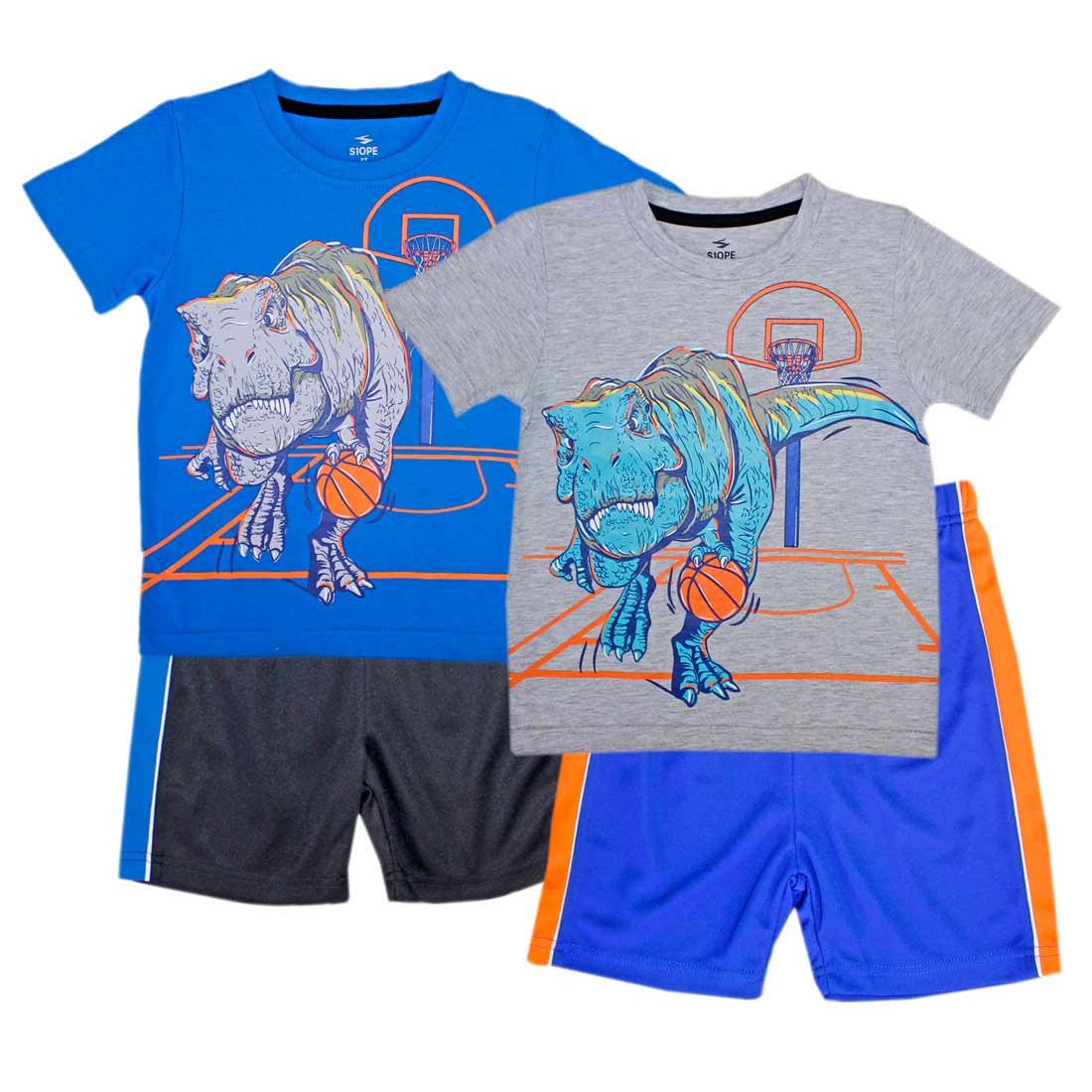 S1OPE T-Rex Jersey Top with Taping Athletic Shorts-1370702