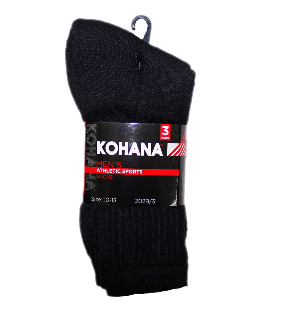 Socks - 10-13 Black Crew Socks