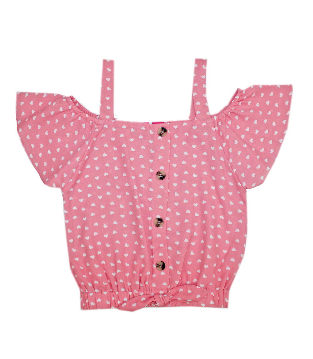 GIRLS PINK 4-6X Heart Print Cold Shoulder Top w Lace