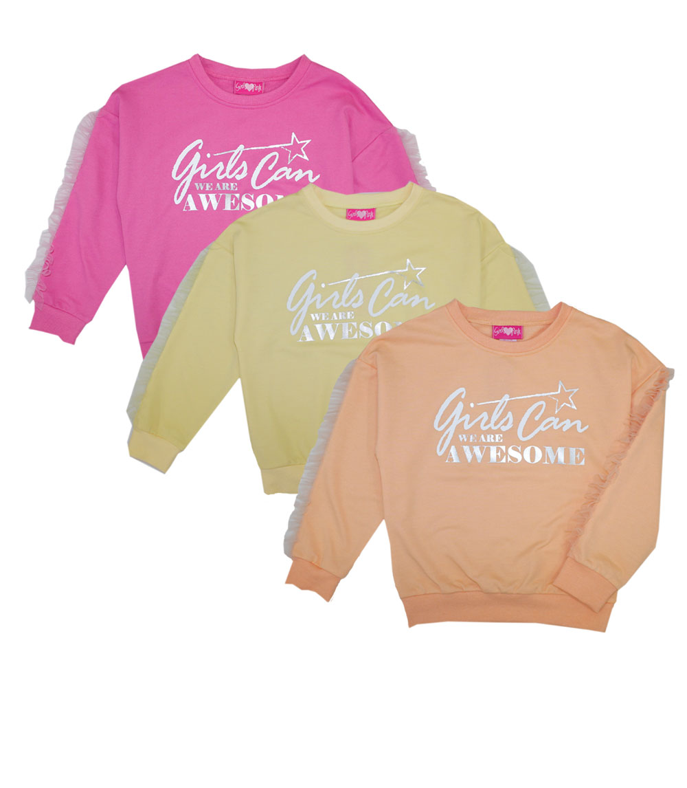 GIRLS PINK 4-6X French Terry Top w Screen Print
