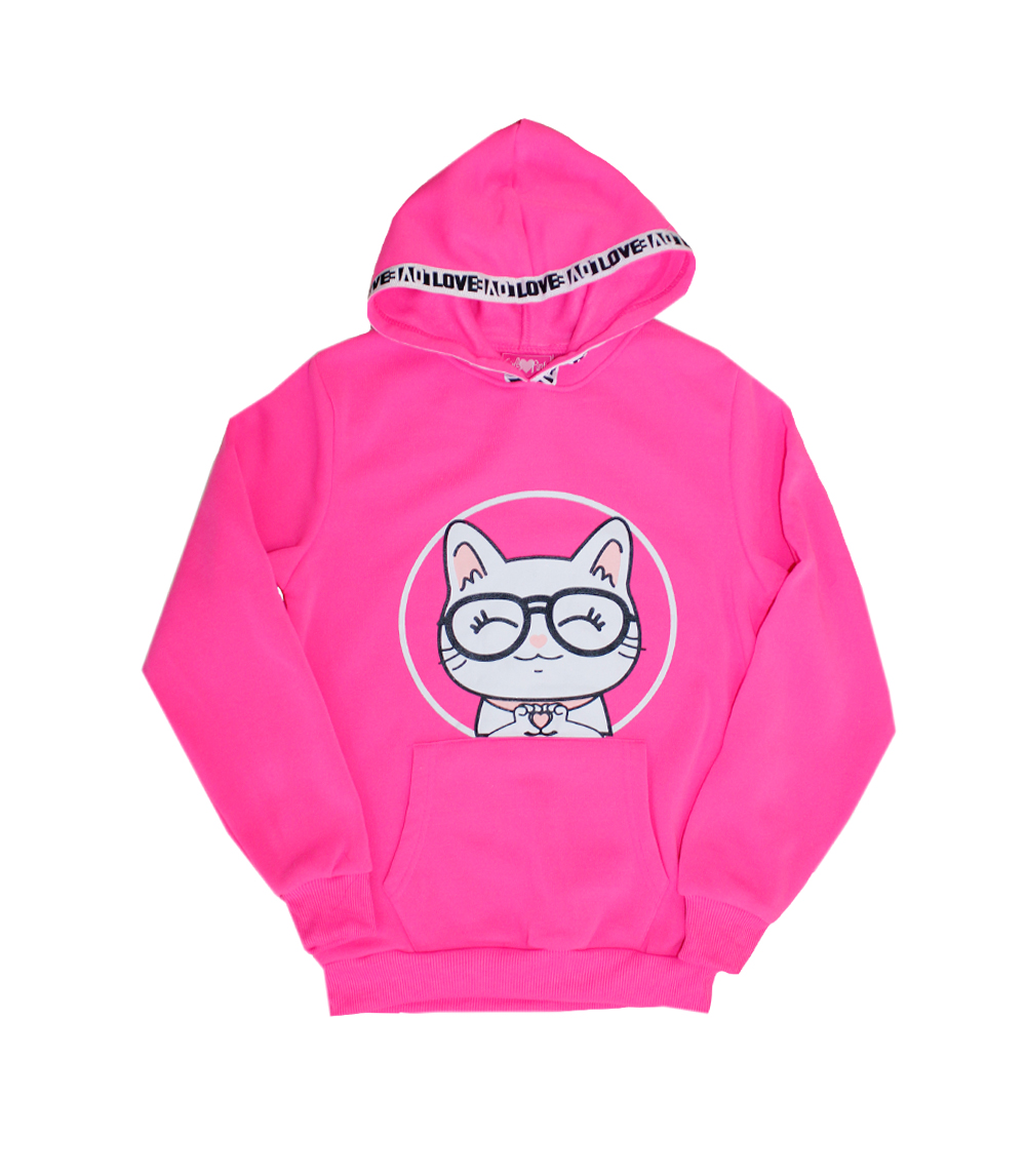 GIRLS PINK 4-6X Cat Screen Fleece Hoodie