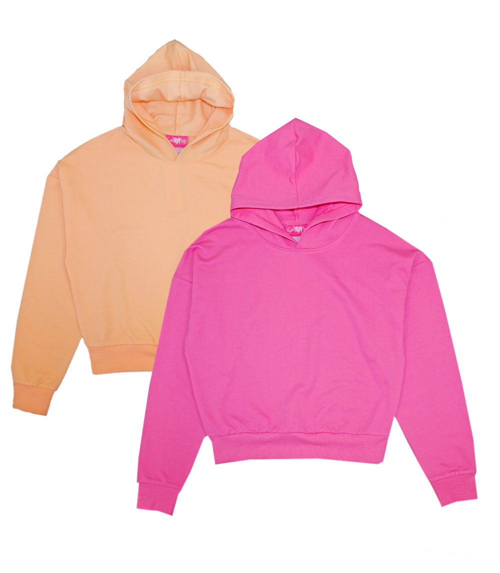 GIRLS PINK 7-16 French Terry Hooded Top