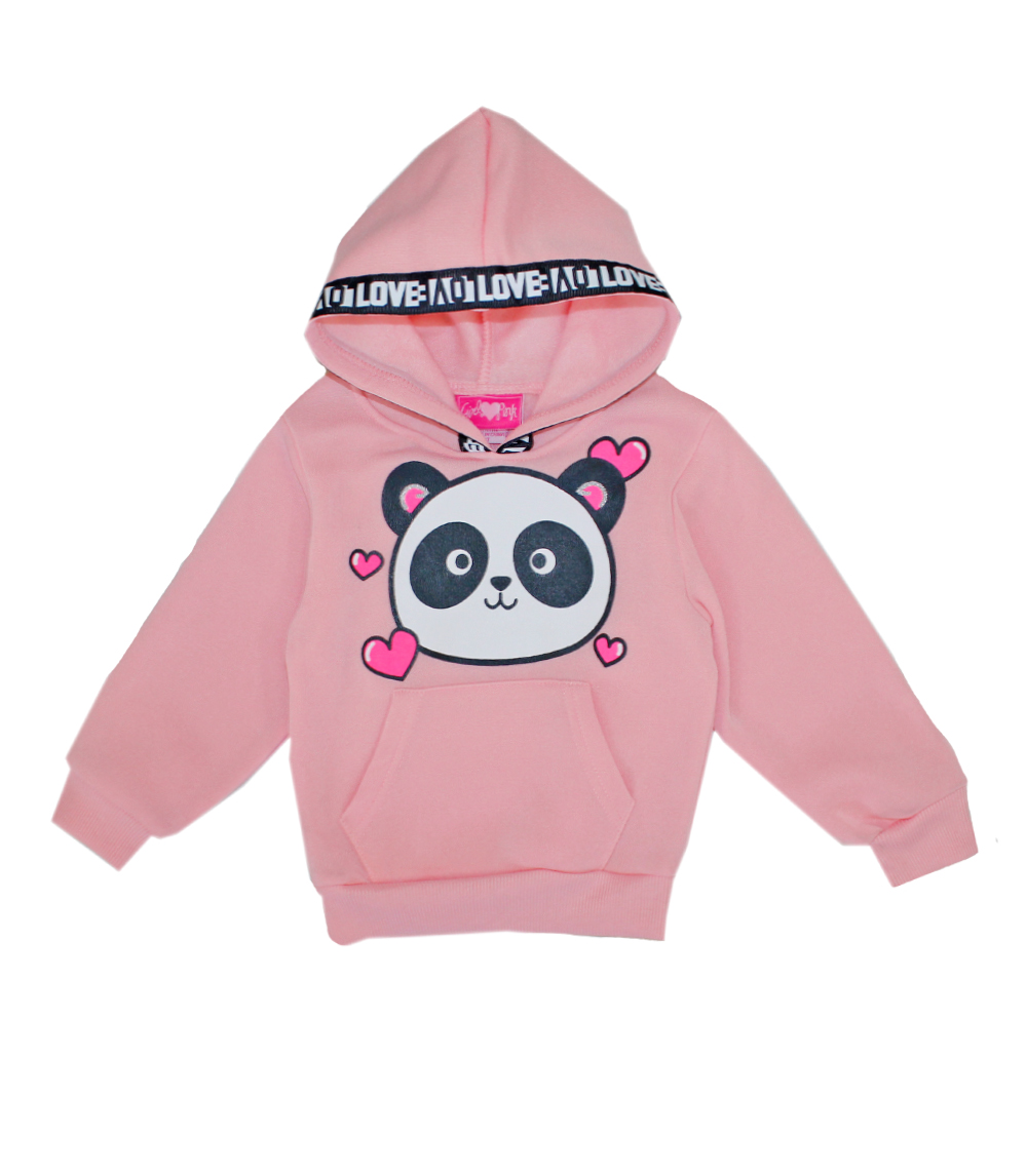 GIRLS PINK 2T-4T Panda Screen Fleece Hoodie
