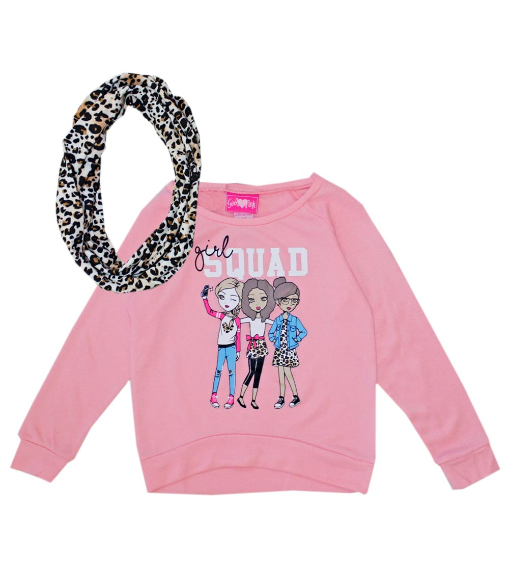 GIRLS PINK 4-6X Girl Squad Sweater with Screen and Scarf
