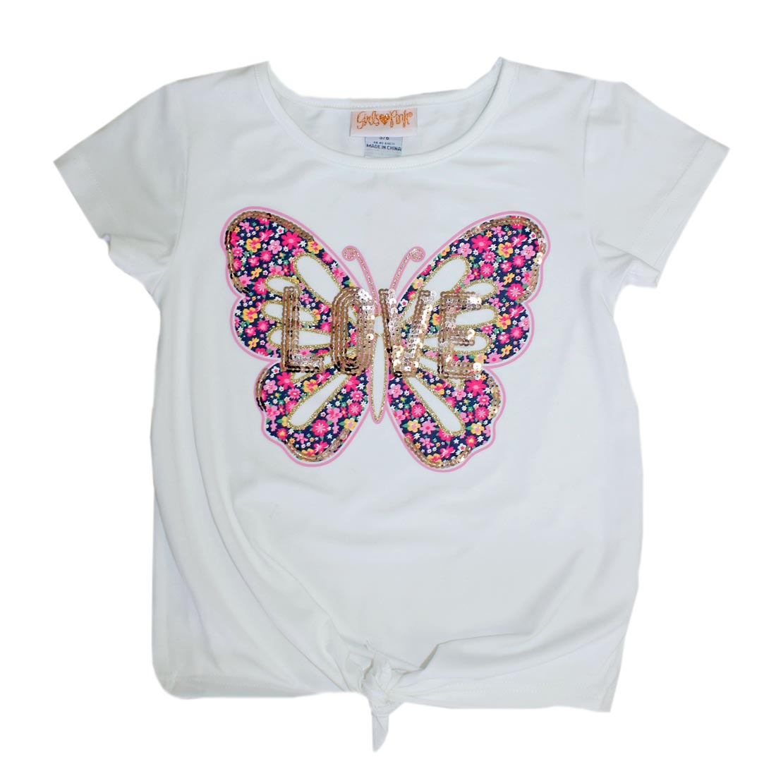 GIRLS PINK Butterfly Rose Gold Glitter Top-2068867