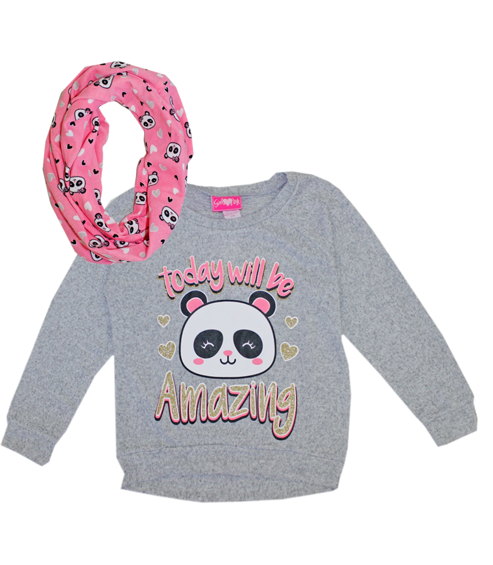 GIRLS PINK 4-6X Panda Sweater with Screen and Scarf