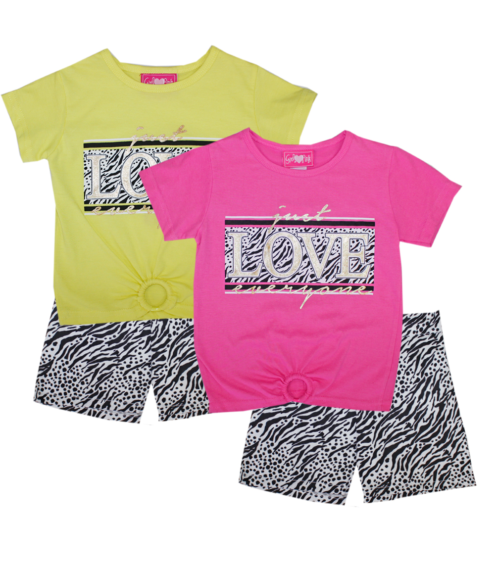 GIRLS PINK 4-6X Love Screen Top and Woven Shorts