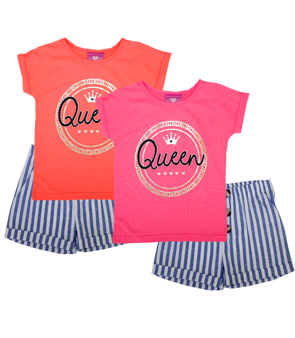 GIRLS PINK Toddler Top with Queen Screen & Short