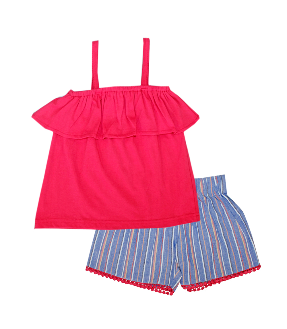 GIRLS PINK Toddler Ruffle Top & Woven Short w Lace