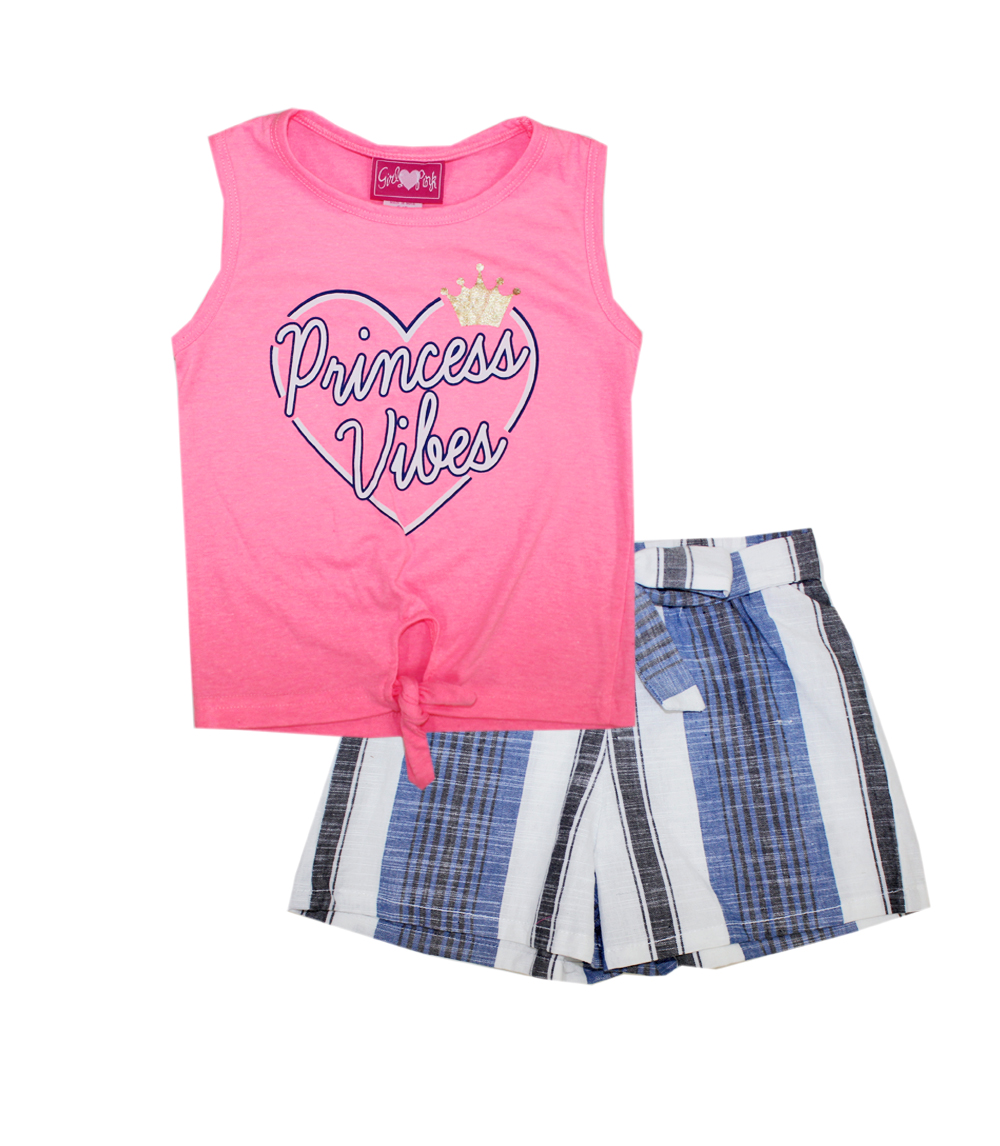 GIRLS PINK 4-6X Princess Vibes Screen Top & Woven Shorts