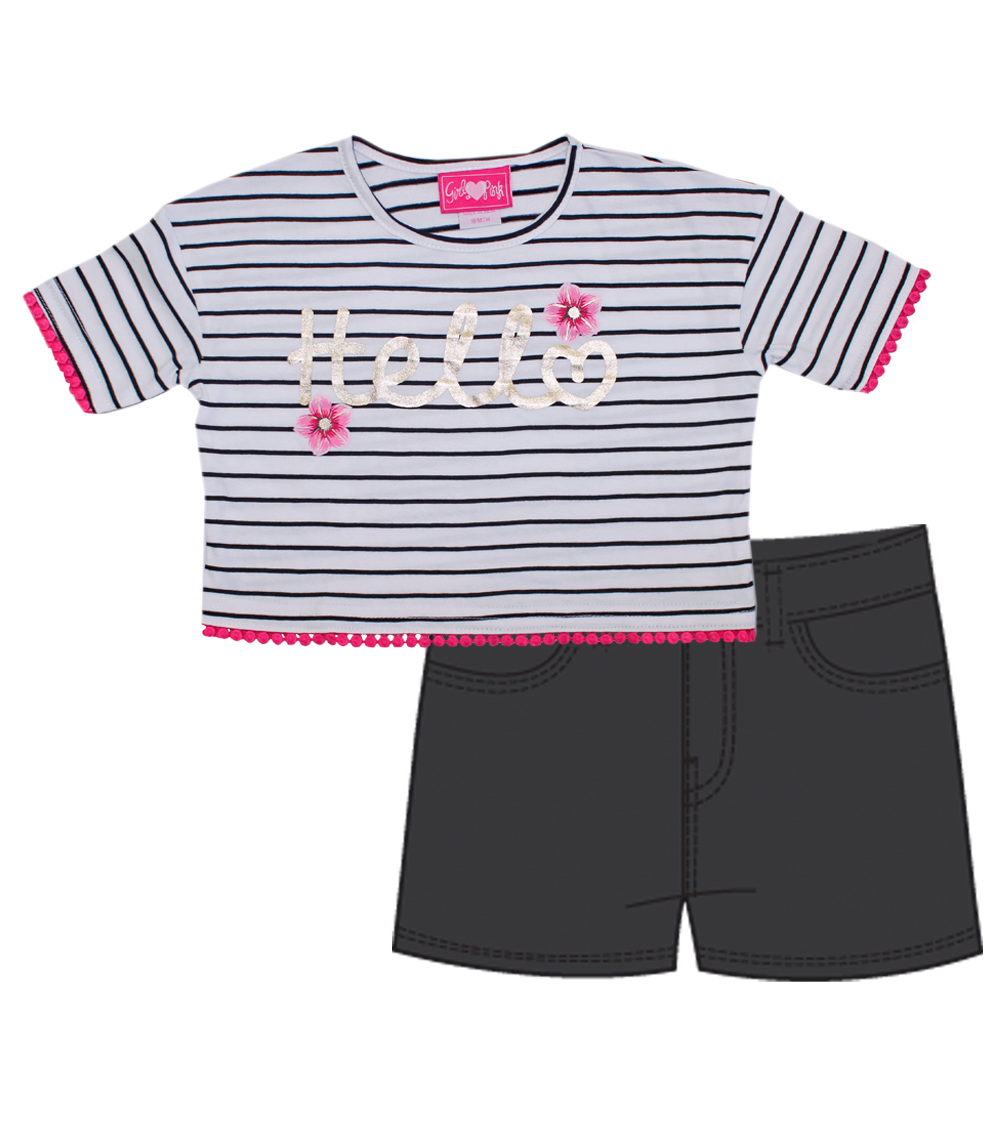 GIRLS PINK 7-16 Pom Pom & Foil Top And Twill Shorts