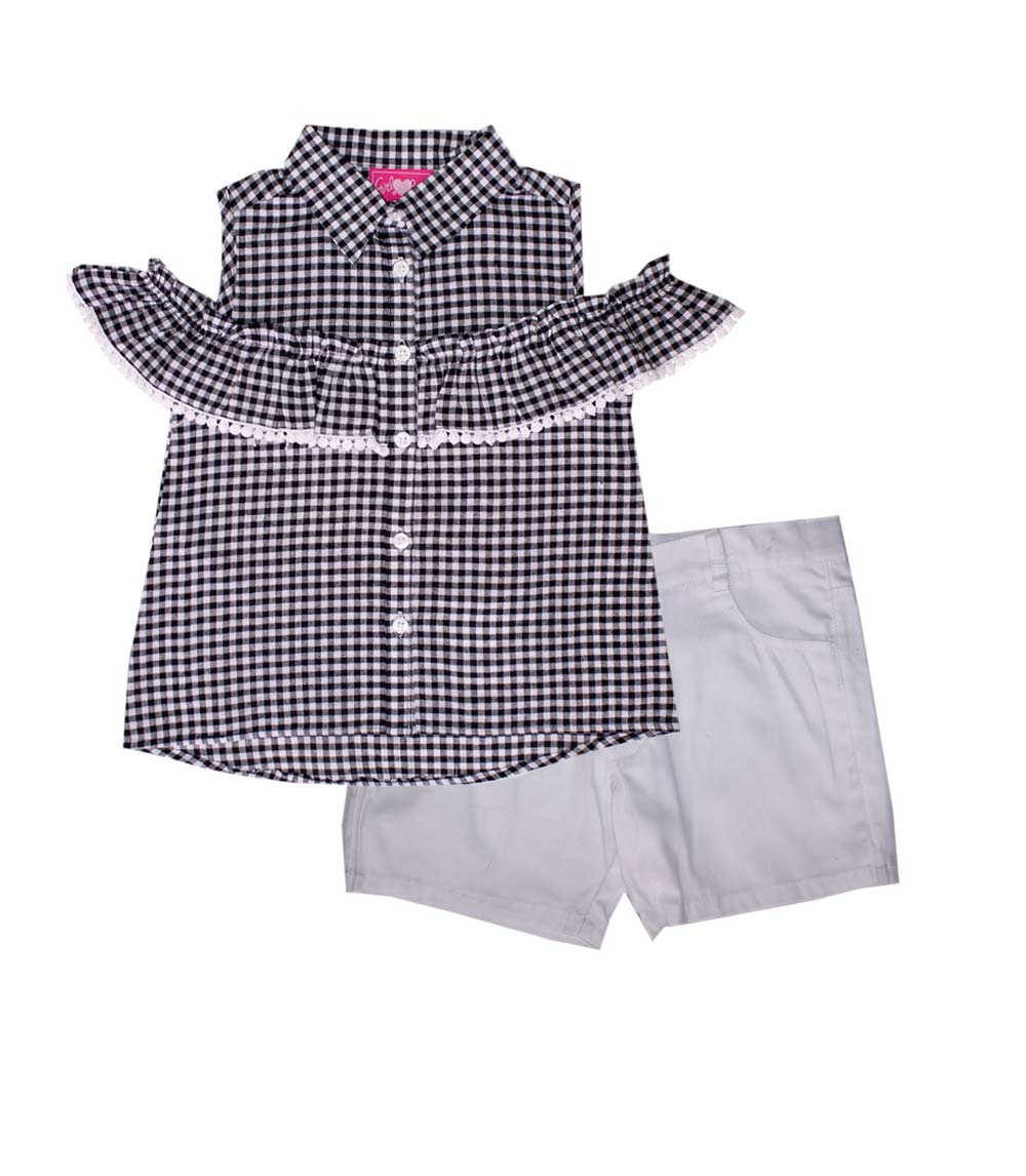 GIRLS PINK Infant Plaid Cold Shoulder Top w Twill Shorts