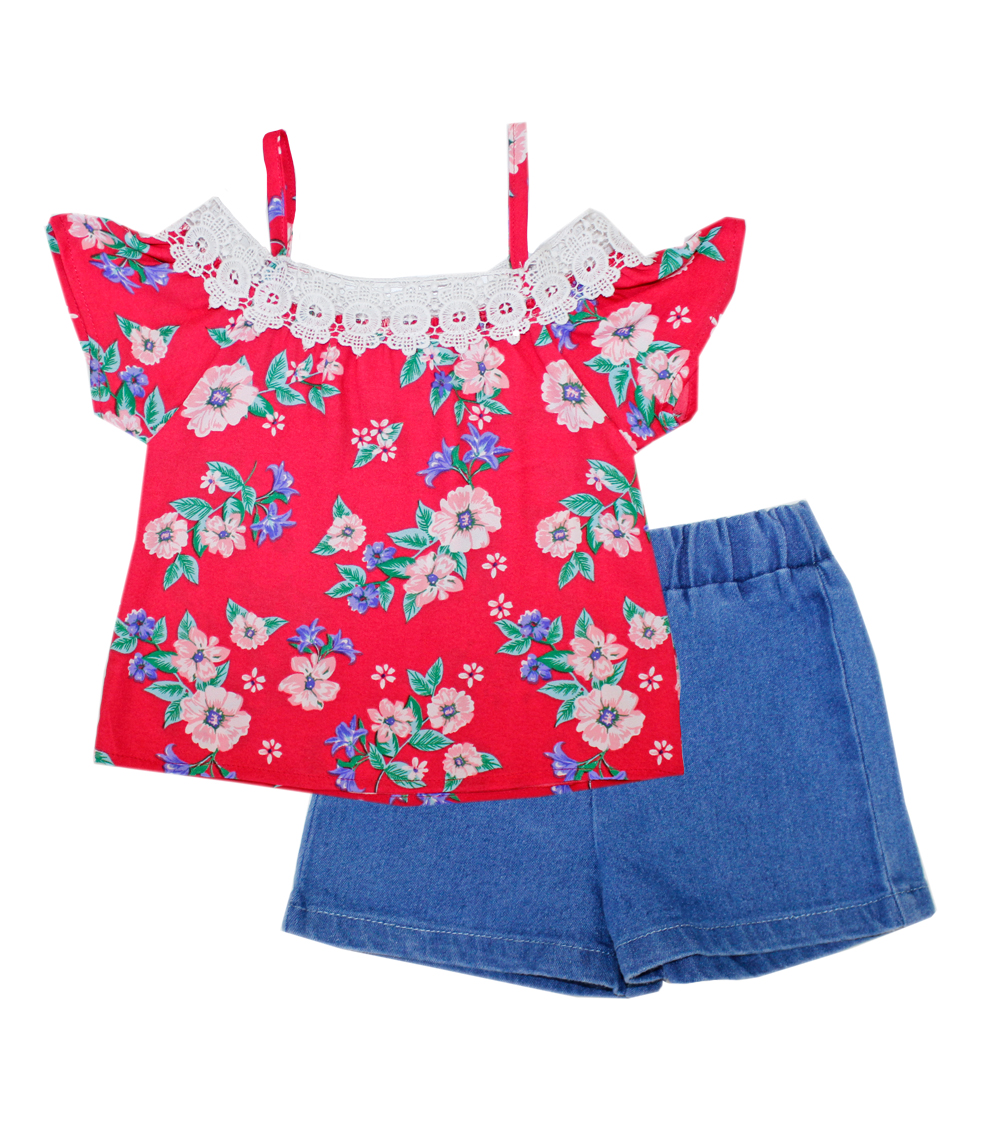GIRLS PINK 4-6X Printed Top w Lace and Denim Shorts