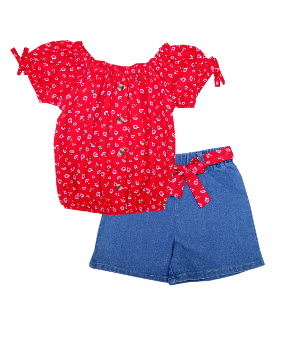 GIRLS PINK Toddler Printed Top and Denim Shorts w Sash Belt