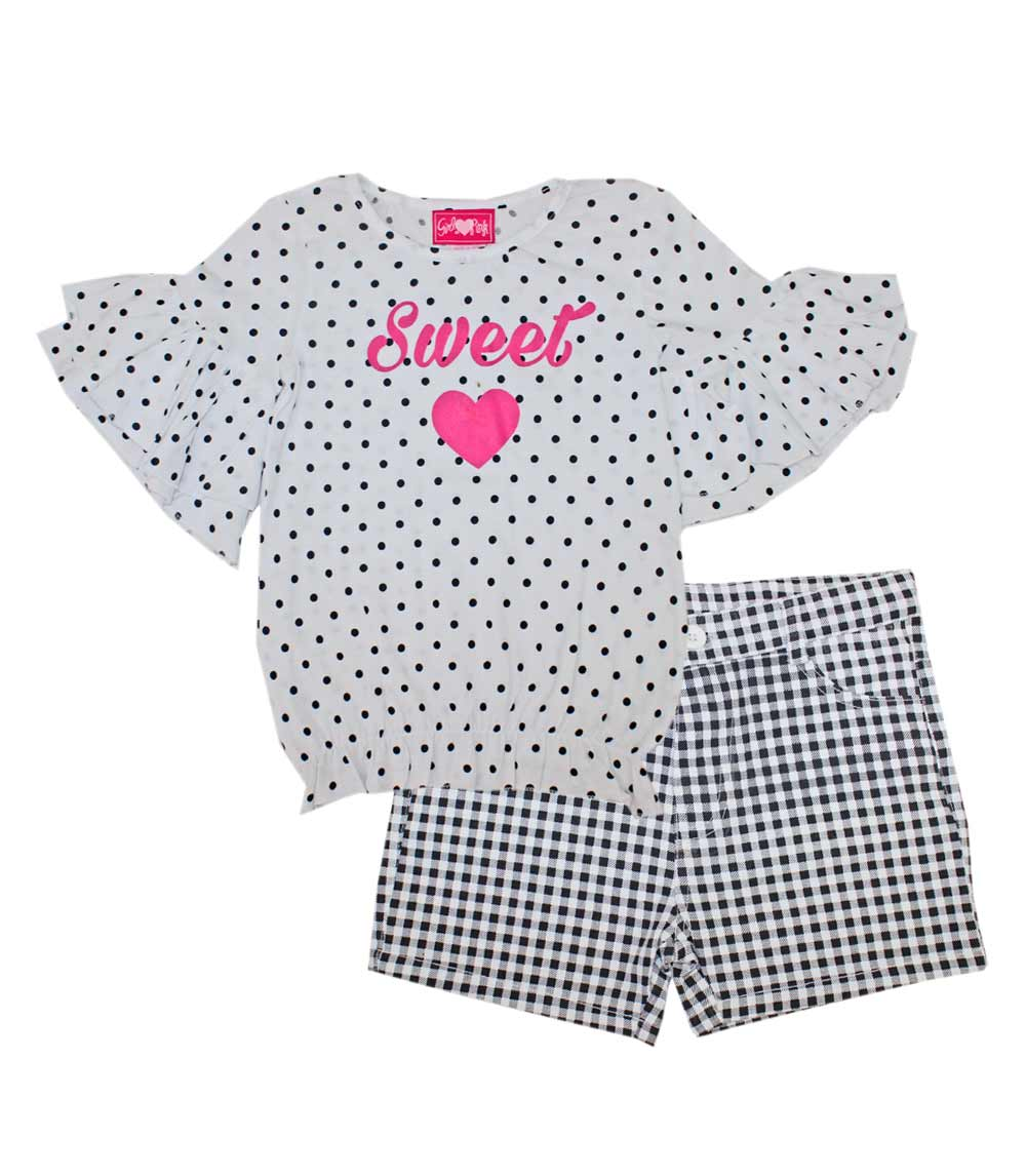 GIRLS PINK 4-6X Ruffle Sleeve Smoked Top W Plaid Shorts