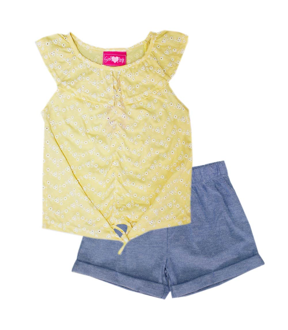 GIRLS PINK Infant Eyelet Top W Ruffle & Chambray Shorts