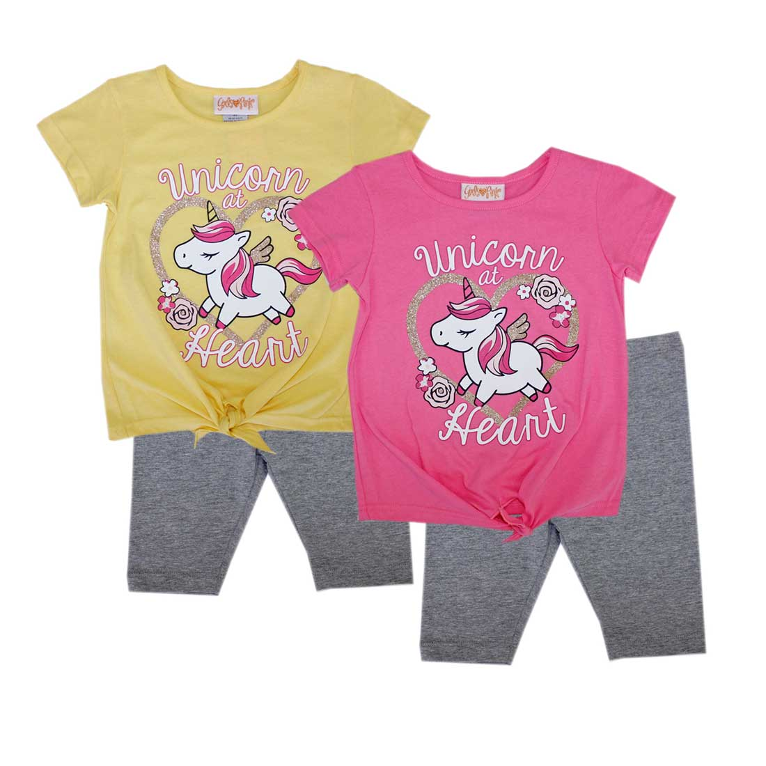 GIRLS PINK Unicorn Heart Screen Top Biker Legging-2218402