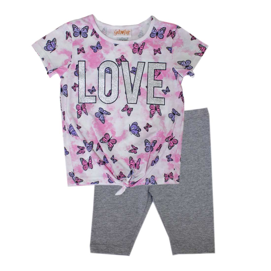 GIRLS PINK Tye Dye Love Screen Top Biker Legging-2219002
