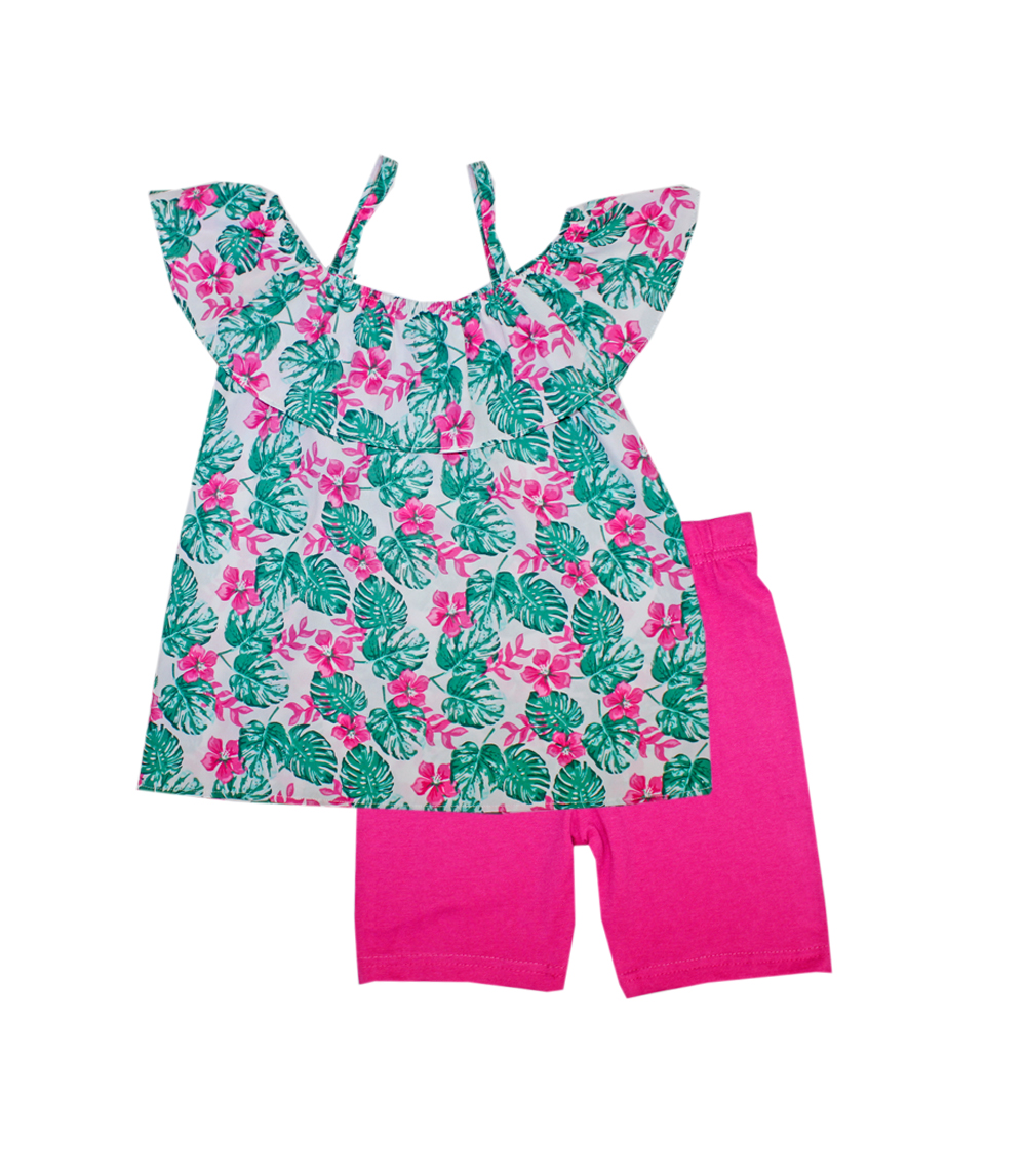 GIRLS PINK 7-16 Moss Top W Leaf Print & Biker Legging