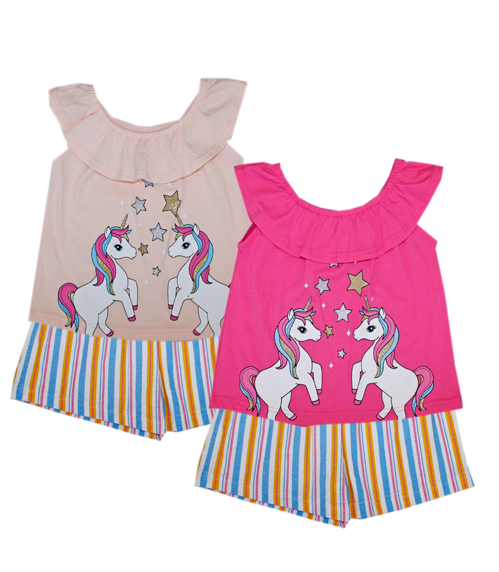 GIRLS PINK Toddler Unicorn Screen Top W Stripe Shorts