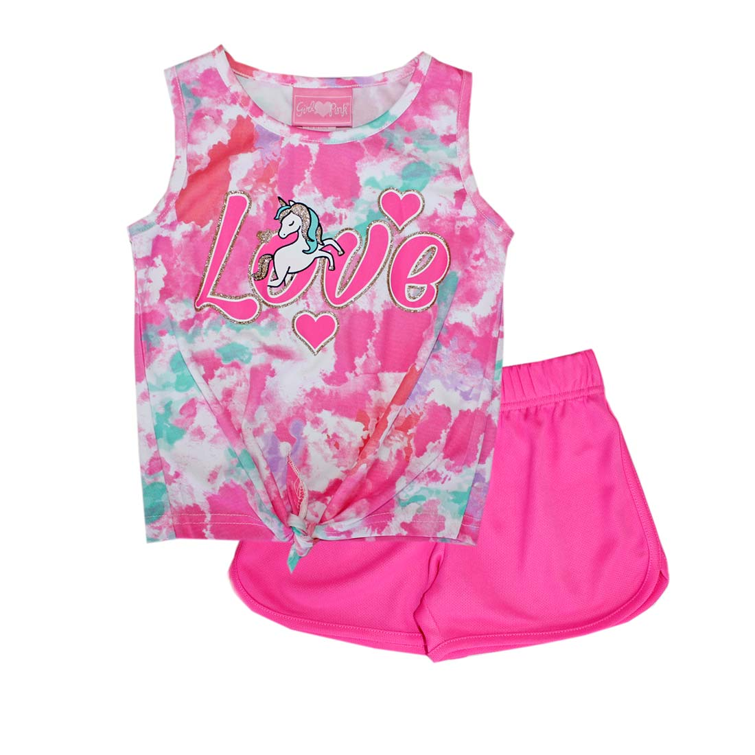 GIRLS PINK Love Unicorn Screen Top Short Set-2223001