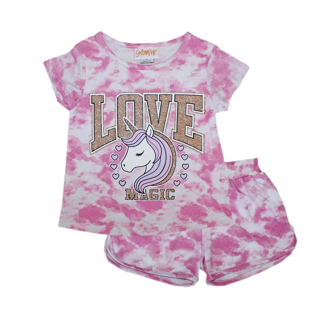 GIRLS PINK Unicorn Love  Screen Top Short Set-2232367