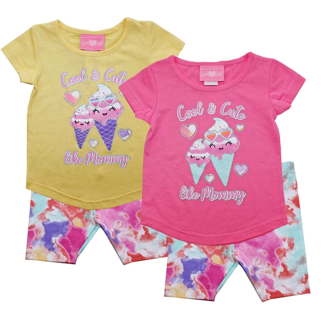 GIRLS PINK Ice Scream Screen Top Biker Legging-2237601