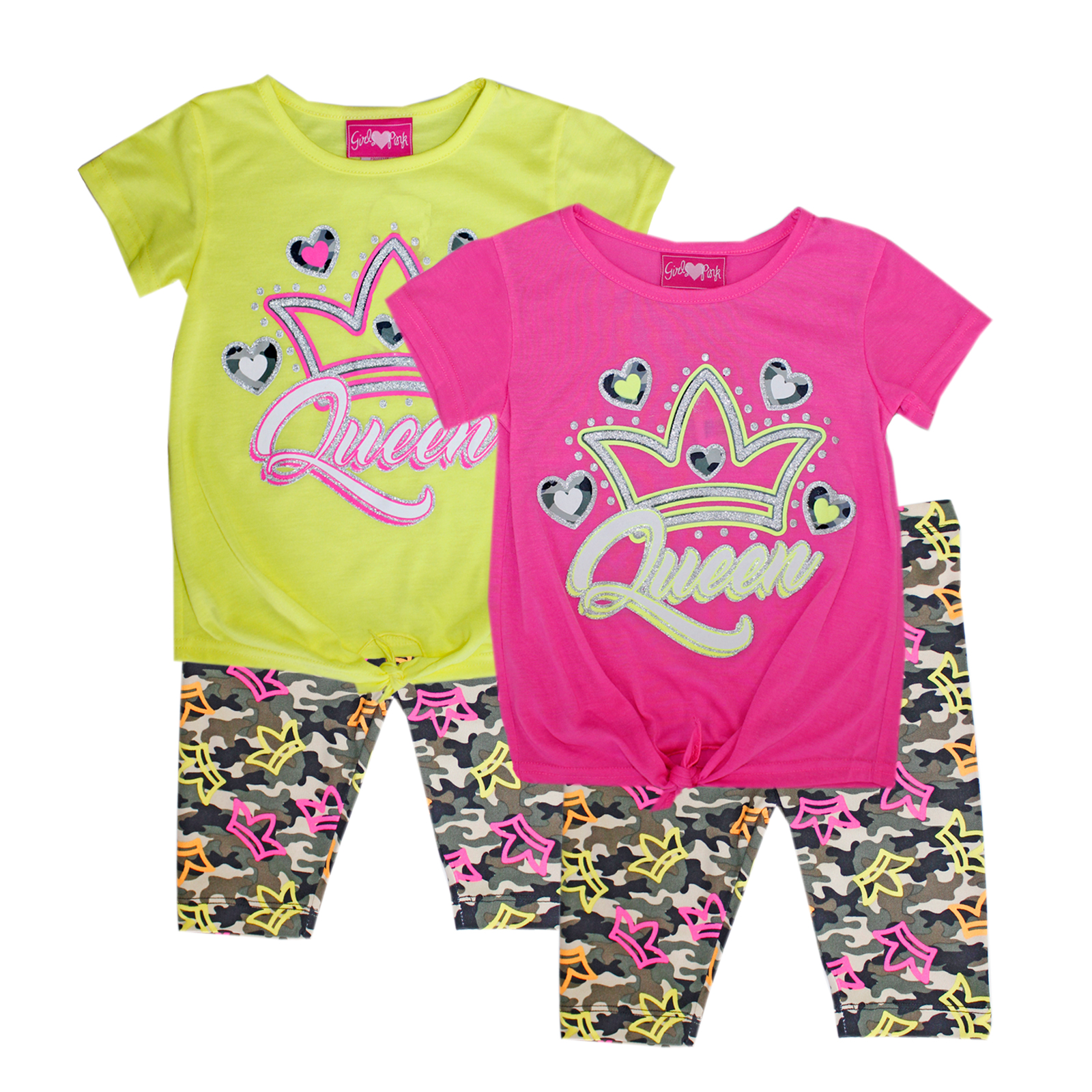 GIRLS PINK 4-6X Tie Front Top Biker Set
