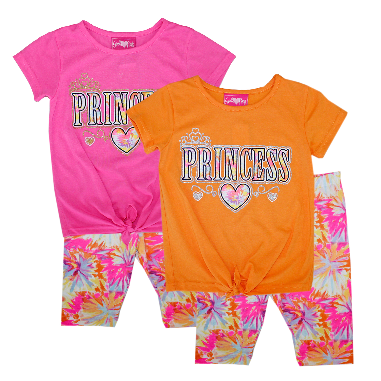 GIRLS PINK Toddler Tie Front Top Biker Set