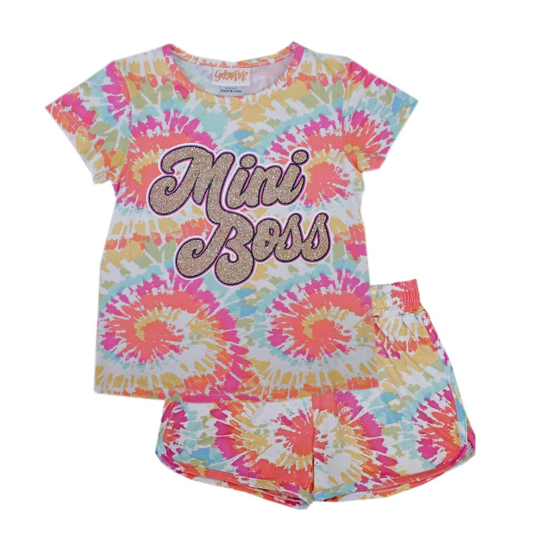 GIRLS PINK Mini Boss Tie Front Top Short Set-2259502