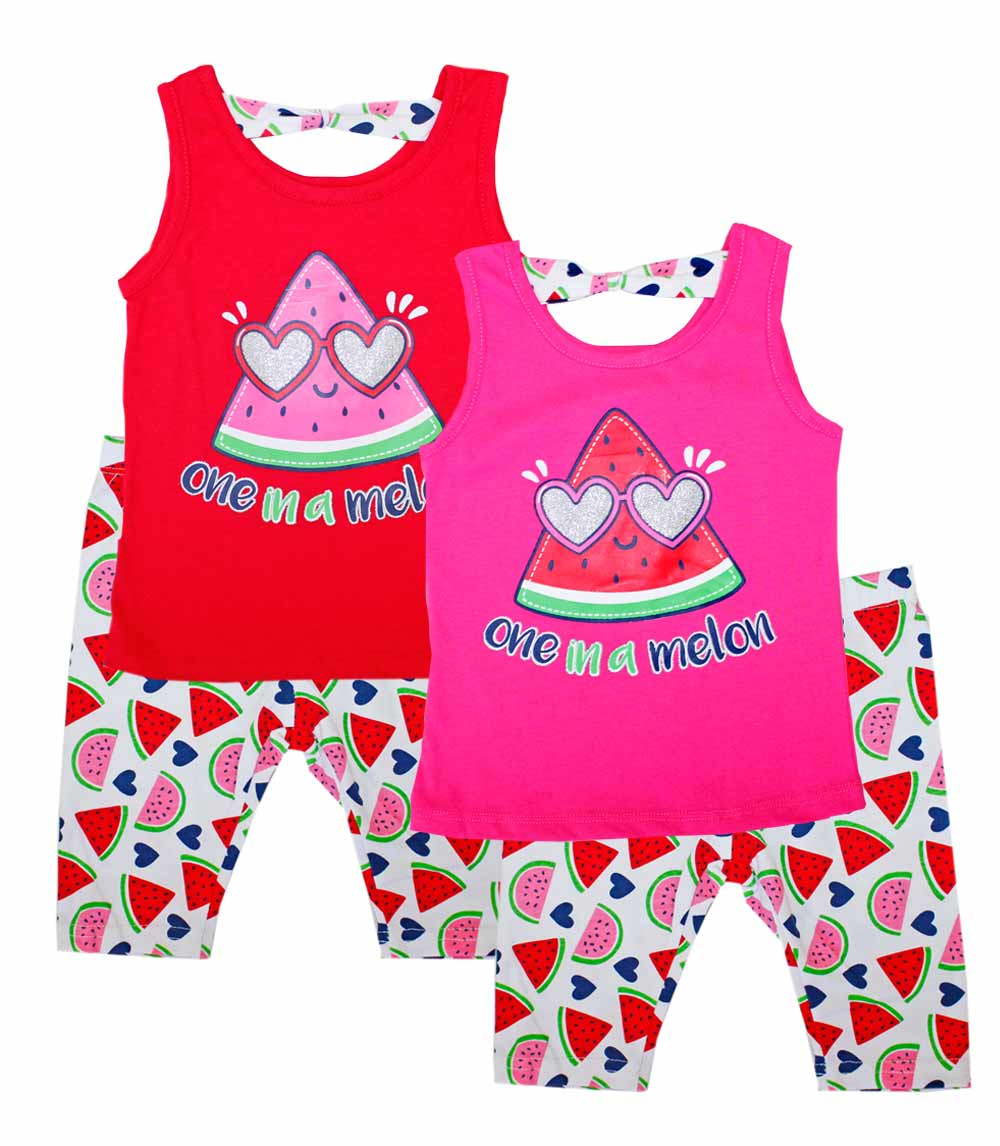 GIRLS PINK Infant One In A Melon Screen Top And Biker Legging