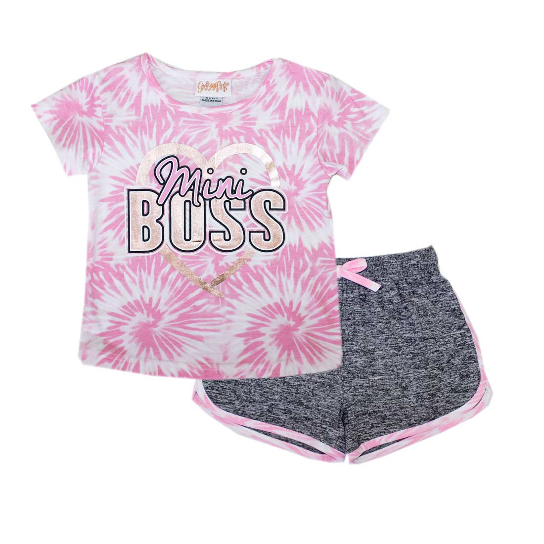 GIRLS PINK Mini Boss Screen Top Short Set-2273401