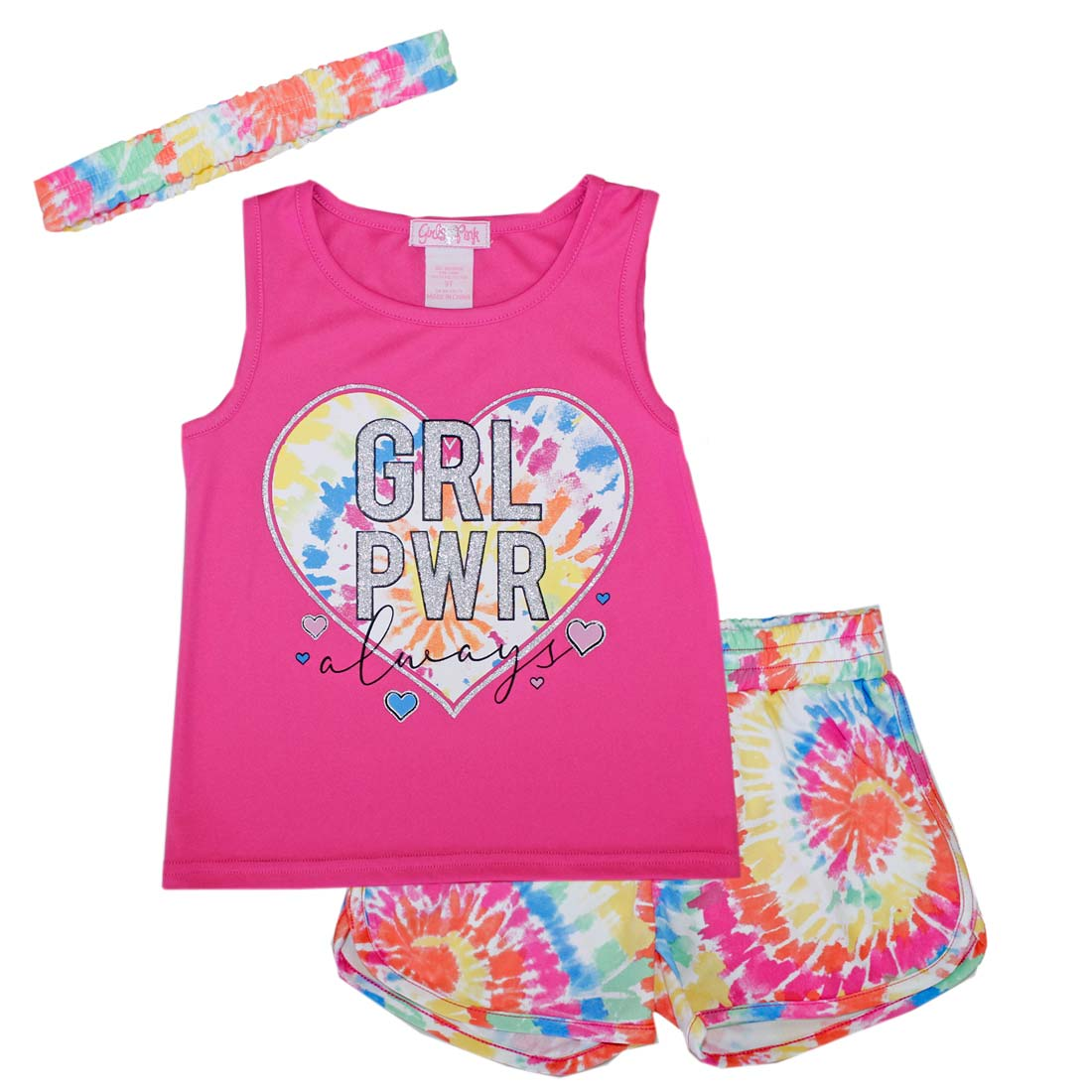 GIRLS PINK Grl Pwr Always Heart Screen Top Tye Dye Shorts-2278904