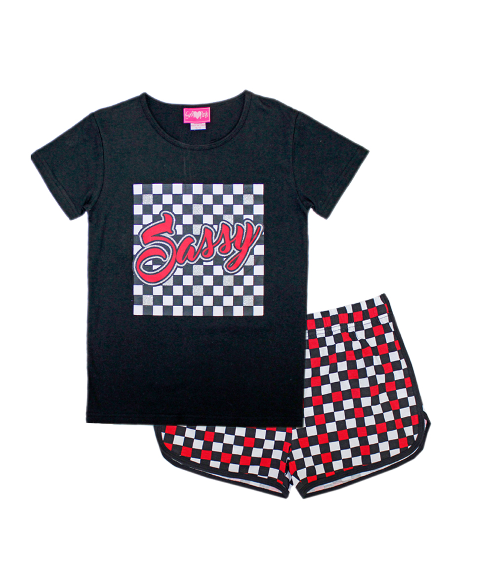 GIRLS PINK 4-6X Sassy Screen Top And Plaid Shorts